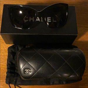 Chanel Black Slight Cat Eye Sunglasses